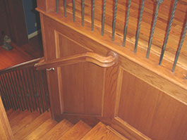 Photograph of circular wood staircase from starter step