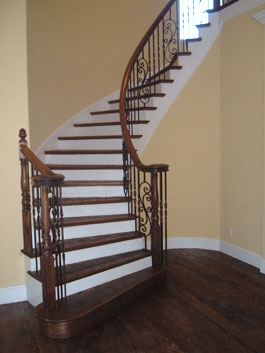 Amazing Circular Wood Staircase With Iron Balusters ...